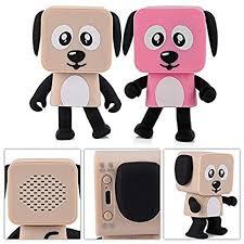 maubhya small square robot dancing dog portable wireless bluetooth smart speaker kids gift novelties toys