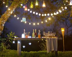 diy decorative outdoor string lighting for unique backyard party with simple wooden table decorat dinner easy best temporary a decorations diy ideas