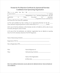 Request Letter For No Objection Certificate Format 12 Templates