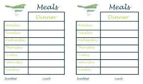 Printable Weekly Meal Planner Template Menu Recipe Food