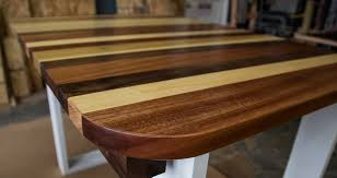 pierson mix of walnut poplar mahogany table top and optional round corners on white base