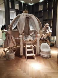 European castle bed design Cinderella pumpkin coach bed/Luxury ivory and  golden princess carriage children