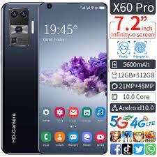 Yeni X60 Pro 7.1 inç 3040x1440 MTK6799 10 çekirdekli Android akıllı  telefonlar 12GB + 512GB 5G cep telefonları 5600mAh büyük kapasiteli mobil  Pho|Phone Screen Protectors