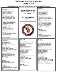 School Supplies List Template School Supply Lists