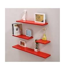 Small Picture Set of 4 Horizontal Shape Wall Mounted Shelves Design A Red