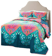 boho chic turquoise navy 3 piece quilt set king