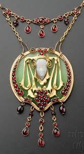 an art nouveau gold and czech garnet necklace prague circa 1909 artnouveau necklace
