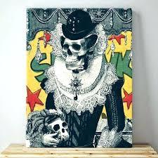 skull wall art skull wall art lady skull canvas print vintage sugar skull wall art colorful