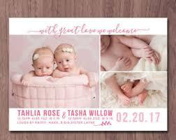 twin birth announcements photo cards etsy dein marktplatz um handgemachtes zu kaufen und verkaufen