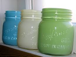 Painted Mason Jars. I use jars to store stock items like rice, beans,