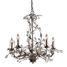 elk lighting chandelier deep rust crystal droplets diffusion