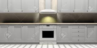 Kitchen Cabinets And Eletric Stove And Hood On Ceramic Tiles Stock