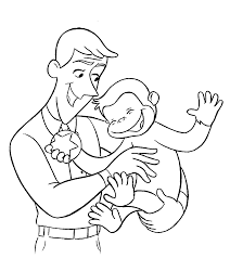 Small Picture Curious George with Ted coloring pages for kids printable free