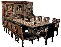 1920 Description:Unusual one of a kind Art Deco/Egyptian Revival dining set  that features a two-tier si-door china cabinet, dining table and ...
