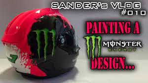 Design Monster Energy Painting A Monster Energy Design On A Helmet Sanders Vlog 010