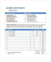 Work Estimate Templates Work Estimate Templates 19 Free Docs Xlsx Pdf Forms