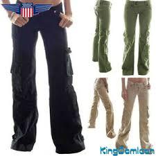 Details About Women Army Cargo Trouser Retro Loose Sports Combat Wide Leg Long Pants Plus Size
