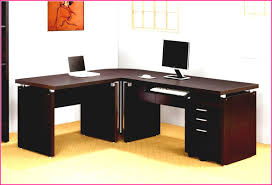 l shaped home office desks. Impressive Office Idea Presented With Dark Brown Colored L Shaped Home Desks Which Is Installed Above Cream Floor Carpet And Below Orange Painting H