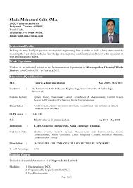 Sample Resume For Fresher Mechanical Engineering Student Mechanical