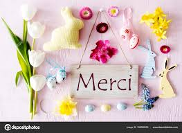 Thank You Easter Easter Flat Lay Merci Means Thank You Stock Photo