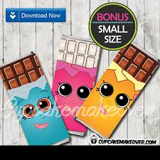 chocolate bar wrappers shopkins candy bar wrappers diy party decoration cupcakemakeover