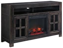 electric fireplace tv stand black signature design by distressed black large stand with electric fireplace unit