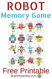 Printable Kids Printable Games For Kids Robot Memory Game