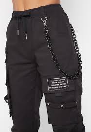 Chain Detail Cargo Pants Black