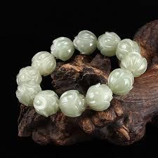 Pure <b>natural Xinjiang Hetian jade</b> lotus hand string string of beads ...