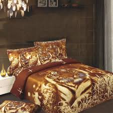 brown and rust orange animal tiger print jungle safari twin full size kids bedding sets for boys and girls