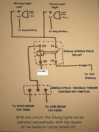 wiring, relay, additional driving lights Wiring Driving Lights To High Beam Diagram with this wiring setup, you can have the driving lights activated with either the high or low beams, or off and they will not go on with the ignition off Fog Light Switch Wiring