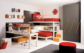 Endearing Red And Grey Awesome Kid Bedroom Design And Decoration ...