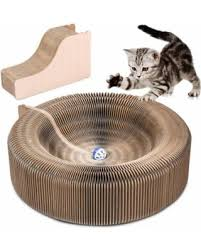 cat scratcher lounge. Cat Scratcher Lounge Collapsible Cardboard Toy With Tinkle Ball \u0026 Catnip Portable High Density Recycled