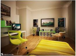 modern minimalist teen boy room decor with yellow roller chair and cool tv and audio system