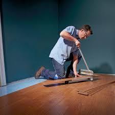 use a laminate shear to cut flooring