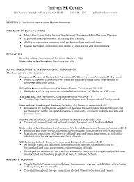 chronological resume sample international human resources writing sample resume