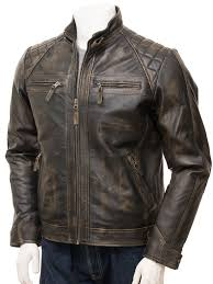 men s vintage leather biker jacket sibiu closed