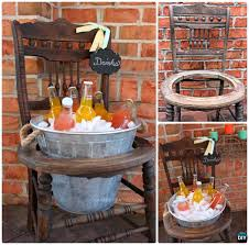 diy recycled chair drink stand instruction ways to repurpose old chairs diy ideas