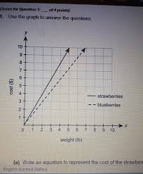 use the graph to answer the question a write and equation to represent the cost of brainly com