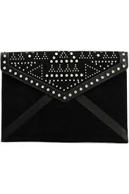 Designer Black Suede Clutch Bag Studded Suede And Leather Paneled Clutch