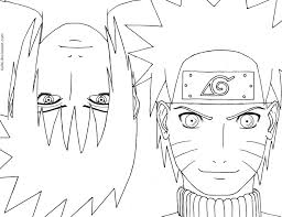 Small Picture Naruto face anime coloring pages for kids printable free