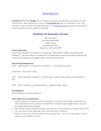 Qualified Architect Cv Template Word Sample With Personal Details