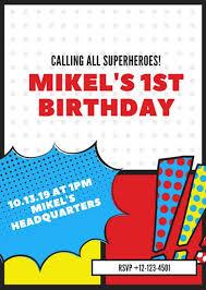 Invitation Templates Birthday Customize 113 Superhero Invitation Templates Online Canva