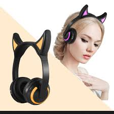 GTIPPOR <b>Cat Ear Bluetooth</b> Stereo <b>Headphones Flashing</b> Glowing ...
