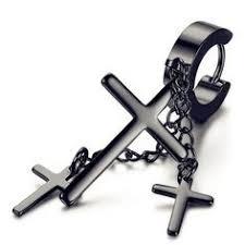 <b>Boako</b> 1pc punk earrings <b>cross</b> pendant dangle long drop <b>chain</b> ...