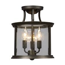 Kitchen Semi Flush Lighting Shop Galaxy Huntington 10 In W Oil Rubbed Bronze Clear Glass Semi