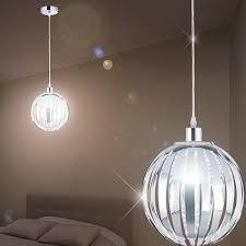 globe hanging light Ø250mm modern retro chrome pendulum lamp acrylic rods pendant