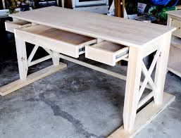 l shaped wood top with x base desk