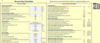 Copper Bus Bar Sizing Chart Panel Design Calculate Size Of Bus Bar Excel