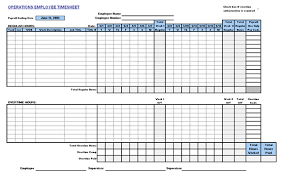 Operations Employee Download Operations Employee Timecard